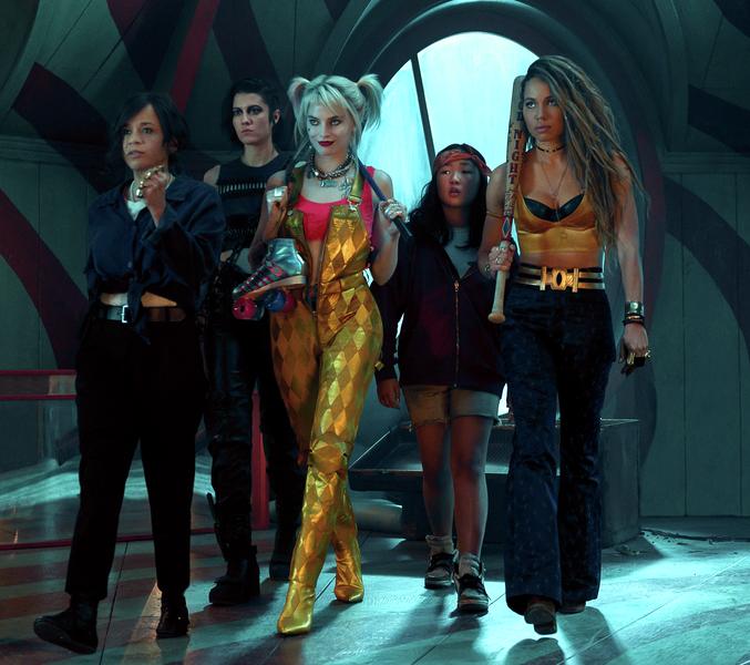 Rosie Perez (far left), Mary Elizabeth Winstead, Margot Robbie, newcomer Ella Jay Basc and Jurnee Smollett-Bell