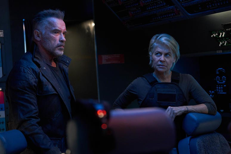 "Arnold Schwarzenegger and Linda Hamilton star in Skydance Productions and Paramount Pictures' ""TERMINATOR: DARK FATE."""