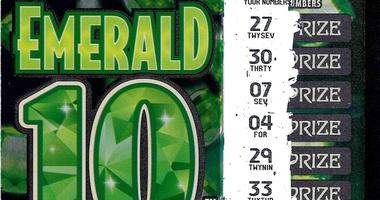 Emerald 10s lottery ticket
