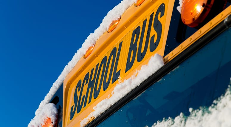school bus snow