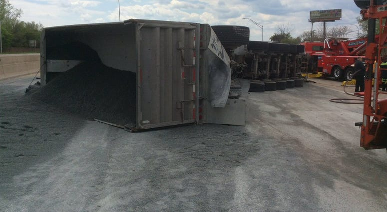 semi flipped I-75