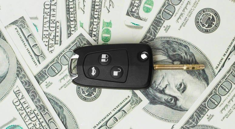 Car key on money