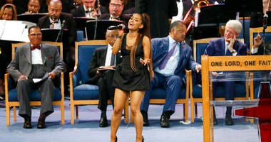 Ariana Grande at Aretha Franklin funeral