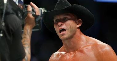 "Donald ""Cowboy"" Cerrone reacts after his win at UFC 202."