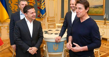 Ukraine President of Zelensky meets Tom Cruise