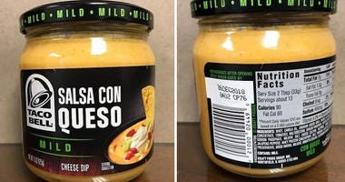 recalled taco bell cheese dip