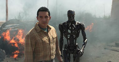 "Gabriel Luna as the Rev-9; Ectoskeleton, left, and Endoskeleton, right, star in Skydance Productions and Paramount Pictures' ""TERMINATOR: DARK FATE."""