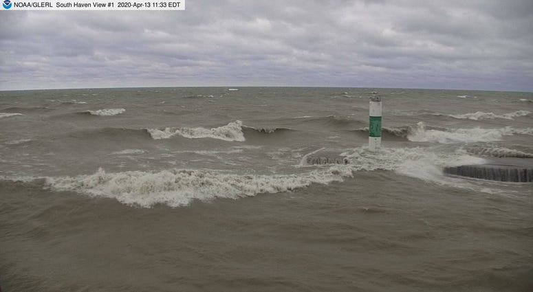 waves on lake Mich