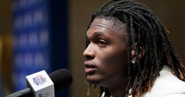 CeeDee Lamb #2 of the Oklahoma Sooners speaks with the media at Media Day on Thursday, Dec. 26, in Atlanta. LSU will face Oklahoma in the 2019 College Football Playoff Semifinal at the Chick-fil-A Peach Bowl.