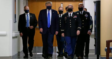 President Trump wearing a face mask