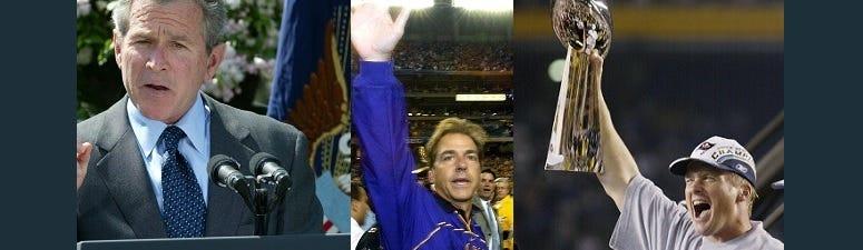 President George W. Bush, Nick Saban, John Gruden