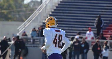 Blake Ferguson at Senior Bowl practice Tuesday.