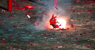 Smoldering spent firework starts house fire.
