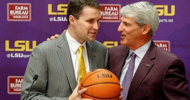 Mar 22, 2017; Baton Rouge, LA, USA; LSU Tigers athletic director Joe Alleva introduces new basketball head coach Will Wade during a press conference at the LSU Student Union.