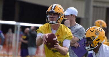 LSU quarterback Myles Brennan at the Tigers first Spring practice.