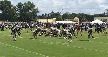 The New Orleans Saints practice during training camp on August 2, 2018