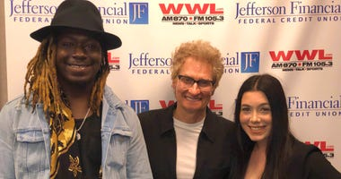 Jovan Webb, Scoot and Faith Becnel in the WWL Studio