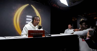 Clemson Tigers running back Travis Etienne (9) during the College Football Playoff National Championship media day at Xavier University of Louisiana Convocation Center.