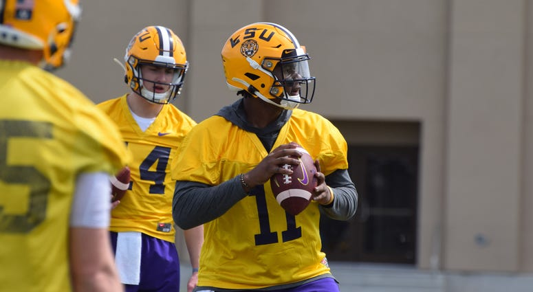 TJ Finley runs a drill at LSU practice Saturday. Finley and freshman Max Johnson have split second-team reps this Spring