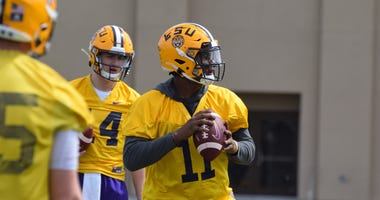 LSU's quarterbacks run drills at spring practice