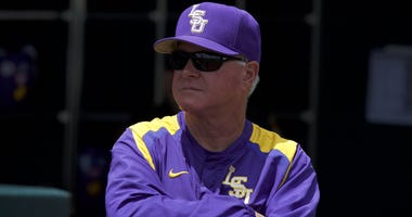 Jun 23, 2017; Omaha, NE, USA; LSU Tigers head coach Paul Mainieri looks out from the dugout prior to the game against the Oregon State Beavers at TD Ameritrade Park Omaha.