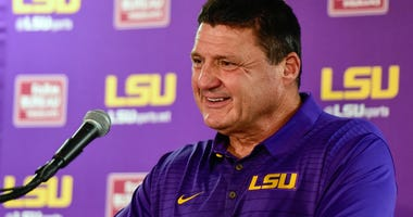 Nov 4, 2017; Tuscaloosa, AL, USA; LSU Tigers head coach Ed Orgeron speaks to the media after being defeated by the Alabama Crimson Tide at Bryant-Denny Stadium.