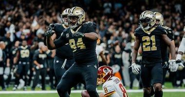 Nov 19, 2017; New Orleans, LA, USA; New Orleans Saints defensive end Cameron Jordan (94) celebrates after a sack against the Washington Redskins during overtime of a game at the Mercedes-Benz Superdome. The Saints defeated the Redskins 34-31 in overtime.