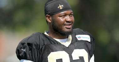 Aug 23, 2018; Costa Mesa, CA, USA: New Orleans Saints defensive tackle David Onyemata (93) during joint practice against the Los Angeles Chargers at the Jack. R. Hammett Sports Complex.