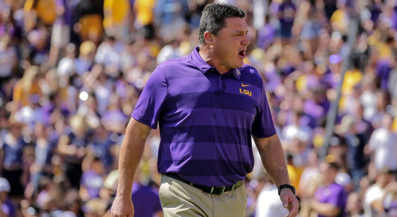 Oct 13, 2018; Baton Rouge, LA, USA; LSU Tigers head coach Ed Orgeron prior to kickoff against the Georgia Bulldogs at Tiger Stadium.