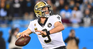 Dec 17, 2018; Charlotte, NC, USA; New Orleans Saints quarterback Drew Brees (9) looks to pass in the second quarter at Bank of America Stadium.