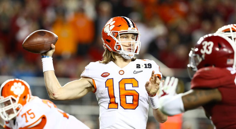 Jan 7, 2019; Santa Clara, CA, USA; Clemson Tigers quarterback Trevor Lawrence (16) throws in the pocket against the Alabama Crimson Tide in the 2019 College Football Playoff Championship game at Levi's Stadium