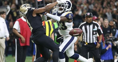Jan 20, 2019; New Orleans, LA, USA; Los Angeles Rams defensive back Nickell Robey-Coleman (23) breaks up a pass intended or New Orleans Saints wide receiver Tommylee Lewis (11) during the fourth quarter of the NFC Championship game at Mercedes-Benz Superd