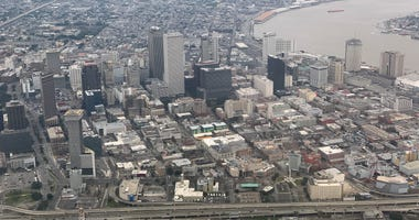 Aerial view of downtown New Orleans prior to the NFC Championship game at Mercedes-Benz Superdome.