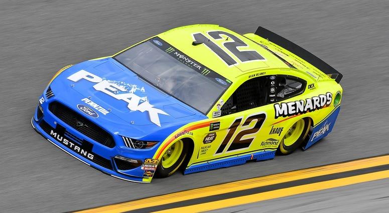 Feb 9, 2019; Daytona Beach, FL, USA; NASCAR Cup Series driver Ryan Blaney (12) during practice for the Daytona 500 at Daytona International Speedway.