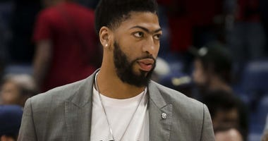 Mar 28, 2019; New Orleans, LA, USA; New Orleans Pelicans forward Anthony Davis following a game against the Sacramento Kings at the Smoothie King Center.