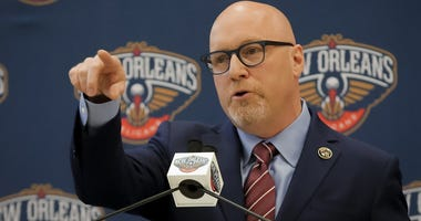 Apr 17, 2019; New Orleans, LA, USA; New Orleans Pelicans Executive Vice President of Basketball Operations David Griffin during an introductory press conference at the New Orleans Pelicans facility.