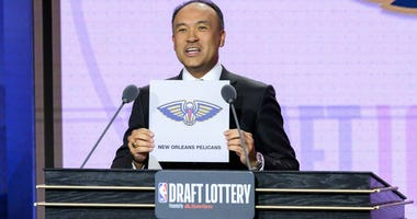 May 14, 2019; Chicago, IL, USA; NBA deputy commissioner Mark Tatum reveals the number one pick for the New Orleans Pelicans during the 2019 NBA Draft Lottery at the Hilton Chicago.