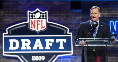 NFL commissioner Roger Goodell speaks during the first round of the 2019 NFL Draft in downtown Nashville.