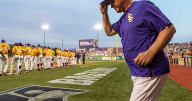 Paul Mainieri takes the field as The LSU Tigers take on Southern Miss in the 2019 NCAA Regional Tournament in Baton Rouge, LA. Sunday, June 2, 2019