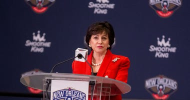 New Orleans Pelicans owner Gayle Benson talks about Zion Williamson the first overall selection in the NBA Draft talks during an introductory press conference at the New Orleans Pelicans Training Facility.