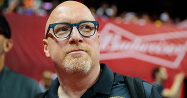 Jul 5, 2019; Las Vegas, NV, USA; New Orleans Pelicans general manager David Griffin in attendance against the New York Knicks during an NBA Summer League game at Thomas & Mack Center.
