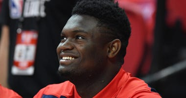 Jul 14, 2019; Las Vegas, NV, USA; New Orleans Pelicans forward Zion Williamson (1) sits on the sidelines before the start of an NBA Summer League game against the Memphis Grizzlies at Thomas & Mack Center.