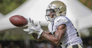 Jul 28, 2019; Metairie, LA, USA; New Orleans Saints wide receiver Emmanuel Butler (17) catches a pass during training camp at the Ochsner Sports Performance Center.