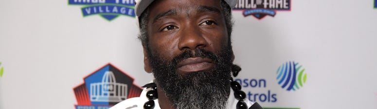 Aug 2, 2019; Canton, OH, USA; Ed Reed speaks at a press conference at McKinley High.