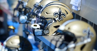 A general view of New Orleans Saints helmets against the Los Angeles Chargers at Dignity Health Sports Park..