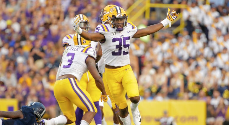 LSU Tigers linebacker Damone Clark (35) celebrates after a sack on Georgia Southern Eagles quarterback Shai Werts (1) during the first quarter at Tiger Stadium.