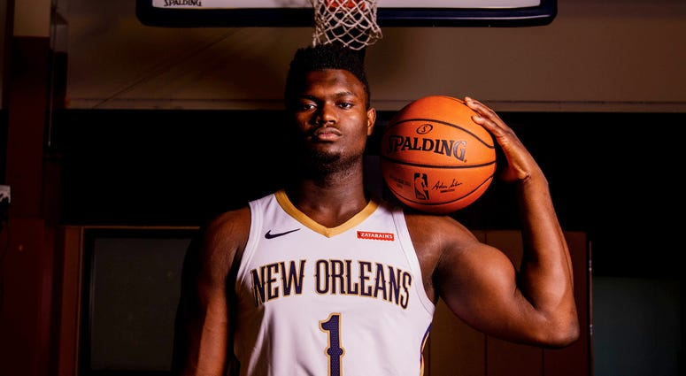 New Orleans Pelicans forward Zion Williamson (1) poses for a portrait during Media Day at the Ochsner Sports Performance Center.
