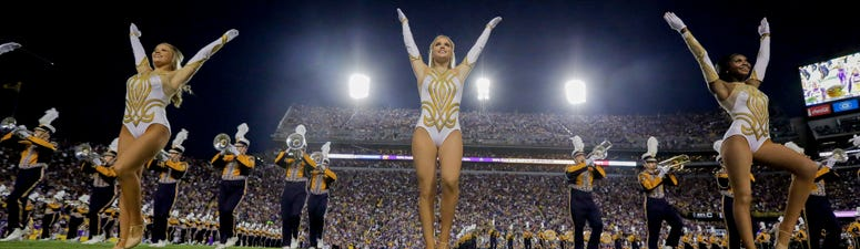The LSU Tigers band and Golden Girls dance team performs prior to kickoff against the Florida Gators at Tiger Stadium.