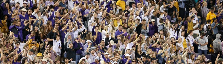 The LSU Tigers fans cheer on their team against the Florida Gators in the second half at Tiger Stadium.
