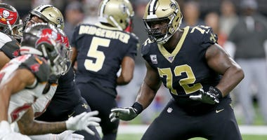New Orleans Saints offensive tackle Terron Armstead (72) blocks in the second half against the Tampa Bay Buccaneers at the Mercedes-Benz Superdome.